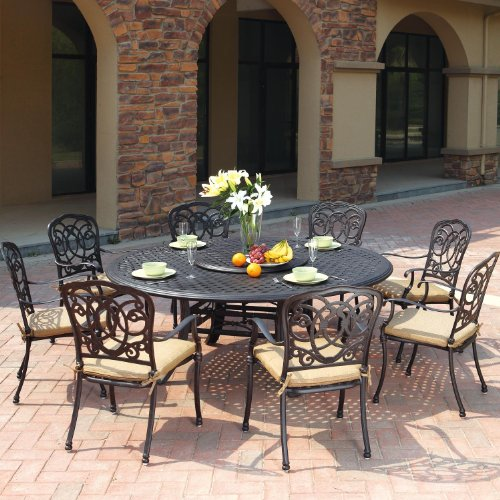 - Darlee Florence 9 Piece Cast Aluminum Patio Dining Set with Lazy Susan - Antique Bronze
