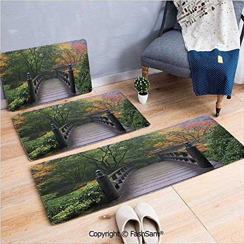 FashSam 3 Piece Flannel Bath Carpet Non Slip Wooden Bridge at Portland Japanese Garden Oregon in Foggy Autumnal Morning Park Front Door Mats Rugs for Home(W15.7xL23.6 by W19.6xL31.5 by W31.4xL47.2)