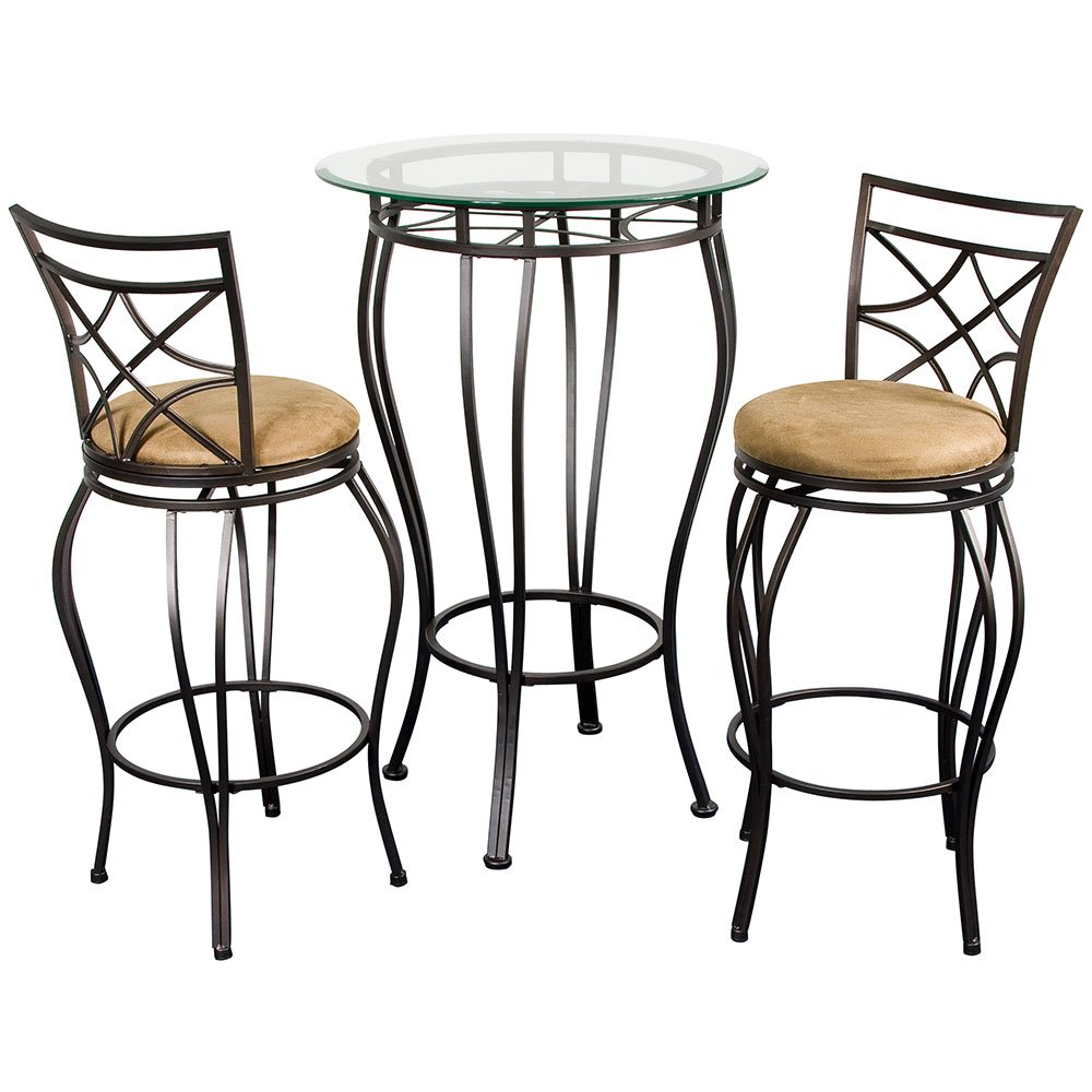 Amazon.com Home Source Industries 3-Piece Web Bistro with a Glass Table Top and 2 Stools Kitchen u0026 Dining  sc 1 st  Amazon.com & Amazon.com: Home Source Industries 3-Piece Web Bistro with a Glass ...