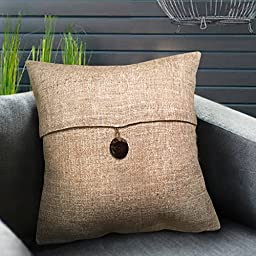 Set of 2 Phantoscope Button Beige Linen Decorative Throw Pillow Case Cushion Cover 18 \