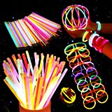 #7: Unomor 200 8'' Glow Sticks Bulk for Glow Party Supplies with 275 Connectors Makes for Glow Glasses Necklaces Headbands(475 PCS)