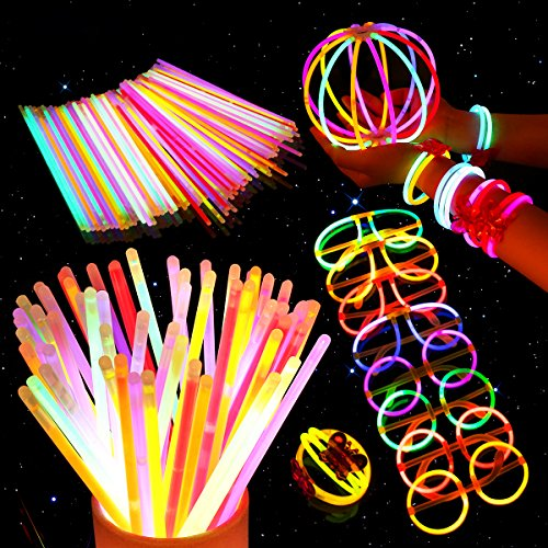 Unomor 200 8'' Glow Sticks Bulk for Halloween Glow Party Supplies with 275 Connectors Makes for Glow Glasses Necklaces Headbands(475 PCS)