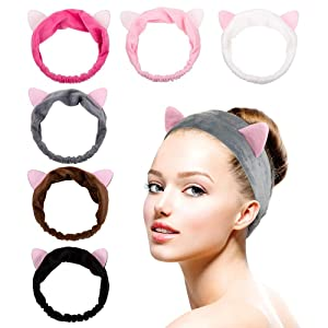 6 Pack Dreamlover Elastic Velvet Cat Ear Headband, Adorable and Comfortable Cat Ear Hair band, Makeup Cosmetic Facial Cleansing Beauty Headband for Girls and Women