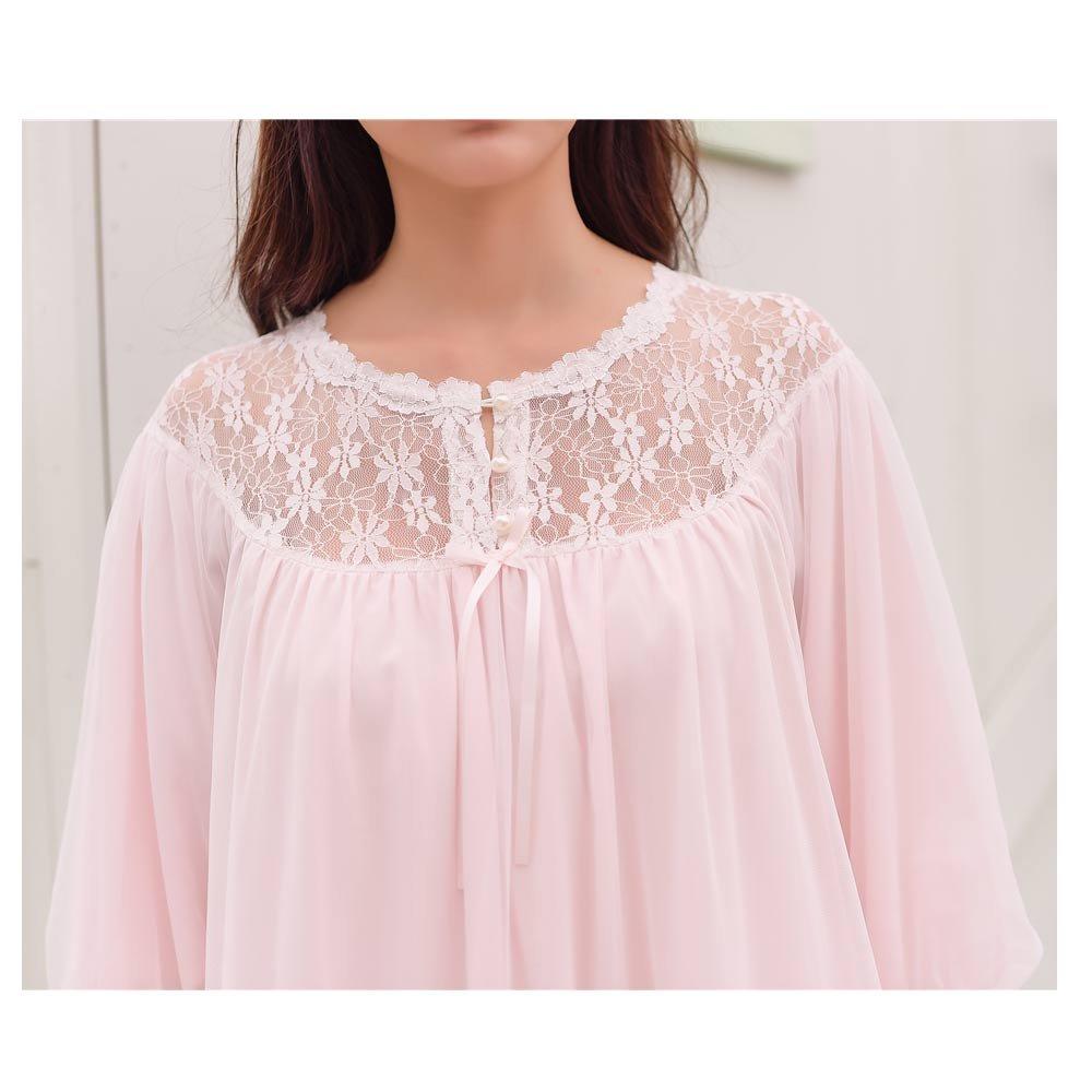 47cd528f57 Ladies Nightgown Women Vintage Nightdress Romantic Classic Princess Night Robe  Sleepwear (Pink) at Amazon Women s Clothing store