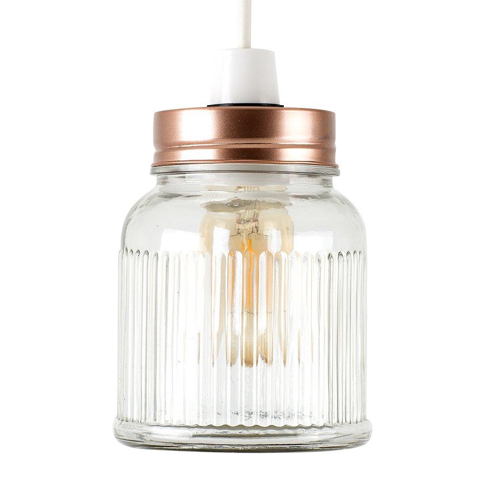 Retro estilo claro cristal tarro de café lámpara de techo ...