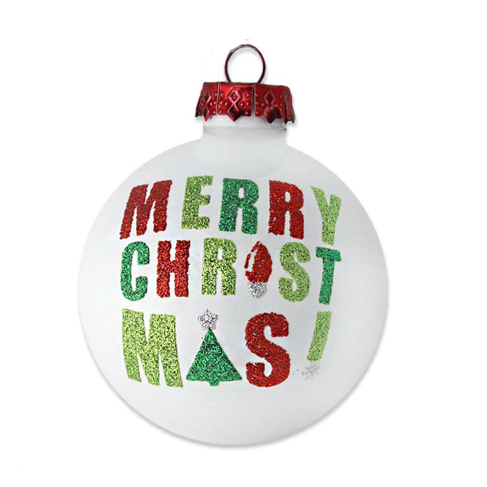 kat annie Glass White Merry Christmas Round