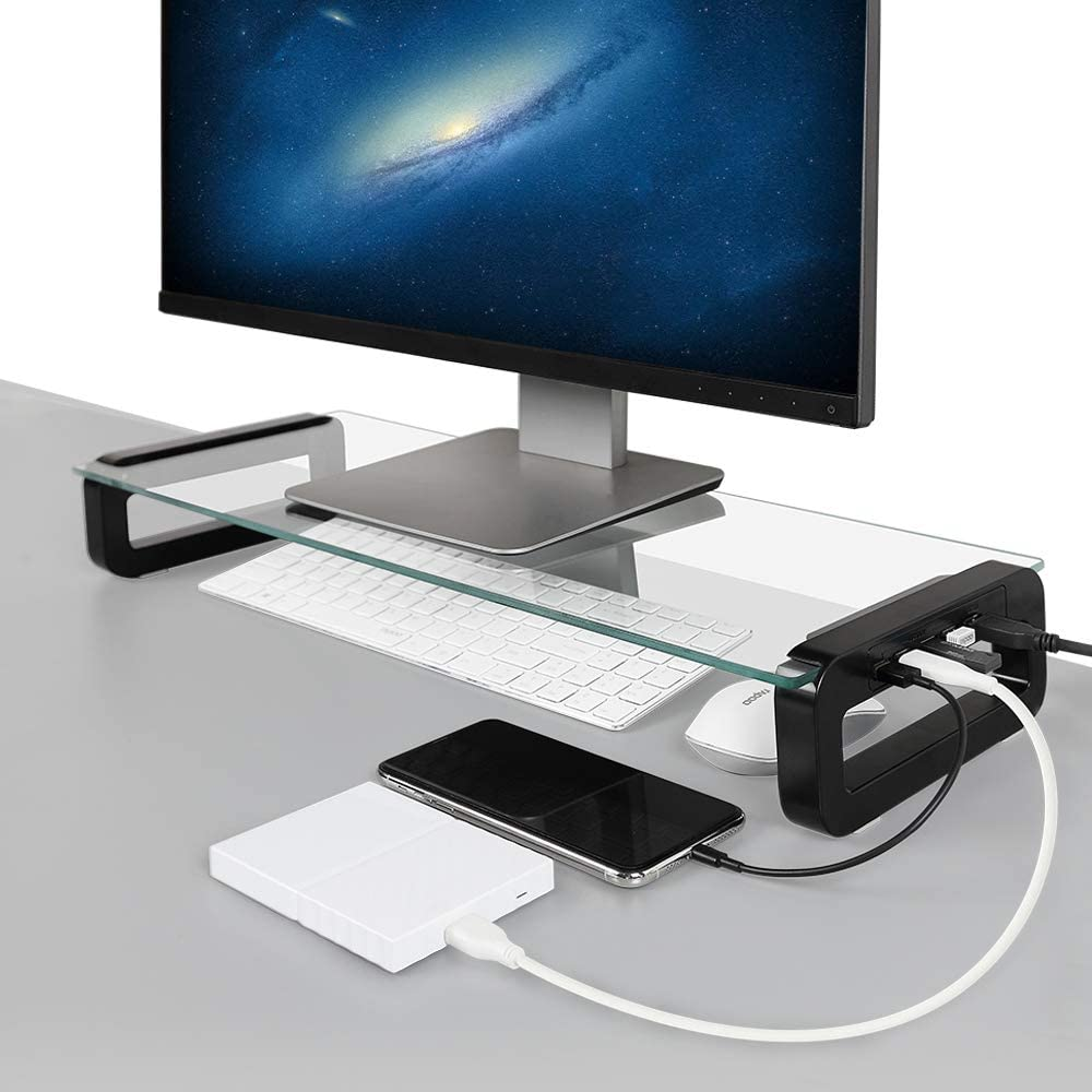Monitor Stand Riser, 4-Port USB 3.0 Hub Tempered Glass Monitor Stand Quick Charge 5Gbps High-Speed Data Transfer Desk Organizer Laptop Stand Keyboard Tray with USB Cable for PC Laptop MacBook (Black)
