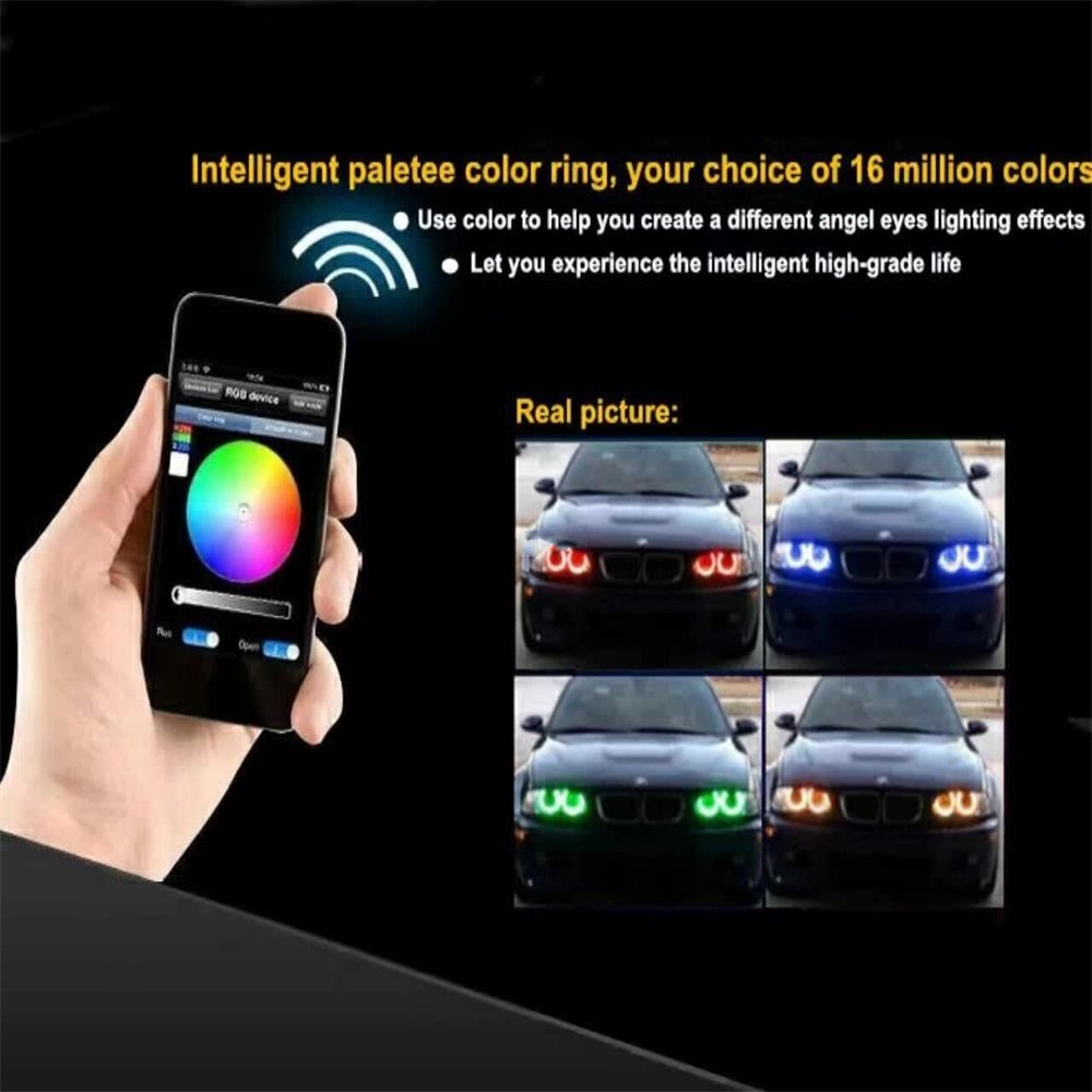 Grandview 1-set 80MM Multi-Color RGB LED Halo Rings Light COB 81SMD Bluetooth Control Car Angel Eyes Daytime Running Lights ircle Ring Headlight Lamp 12V