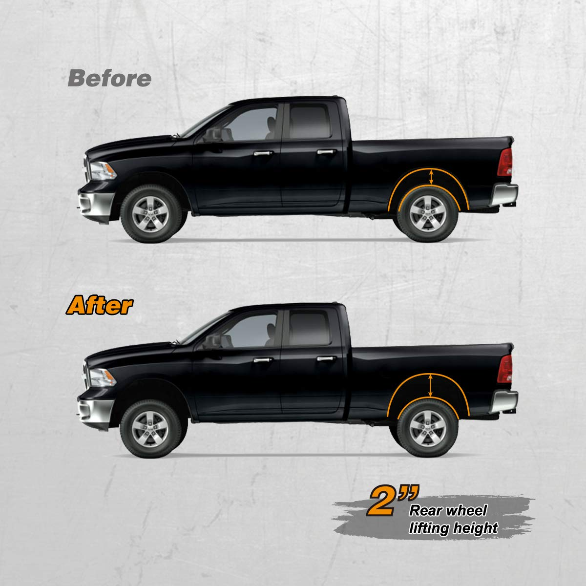 Leveling lift kit for Dodge Ram 1500,Glorider 2 Rear car Lift Aircraft Billet Aluminum Coil Spring Spacer Compatible with 2009 2010 2011 2012 2013 2014 2015 2016 2017 2018 Dodge Ram 1500 4WD Only