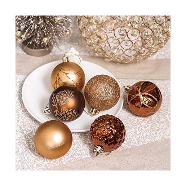 Valery Madelyn Palle di Natale 30 Pezzi 6cm Palline di Natale, Rame da Bosco e Oro Infrangibile Ornamenti Palla di Natale Decorazione per Albero di Natale Decor 6 spesavip