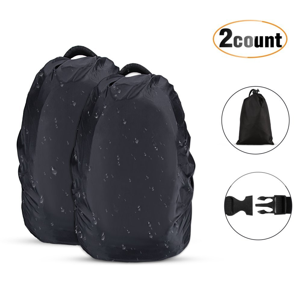 AGPTEK 2-Pack Nylon Waterproof Backpack Rain Cover for Hiking/Camping/Traveling/Outdoor Activities, XS Size(10-17L)