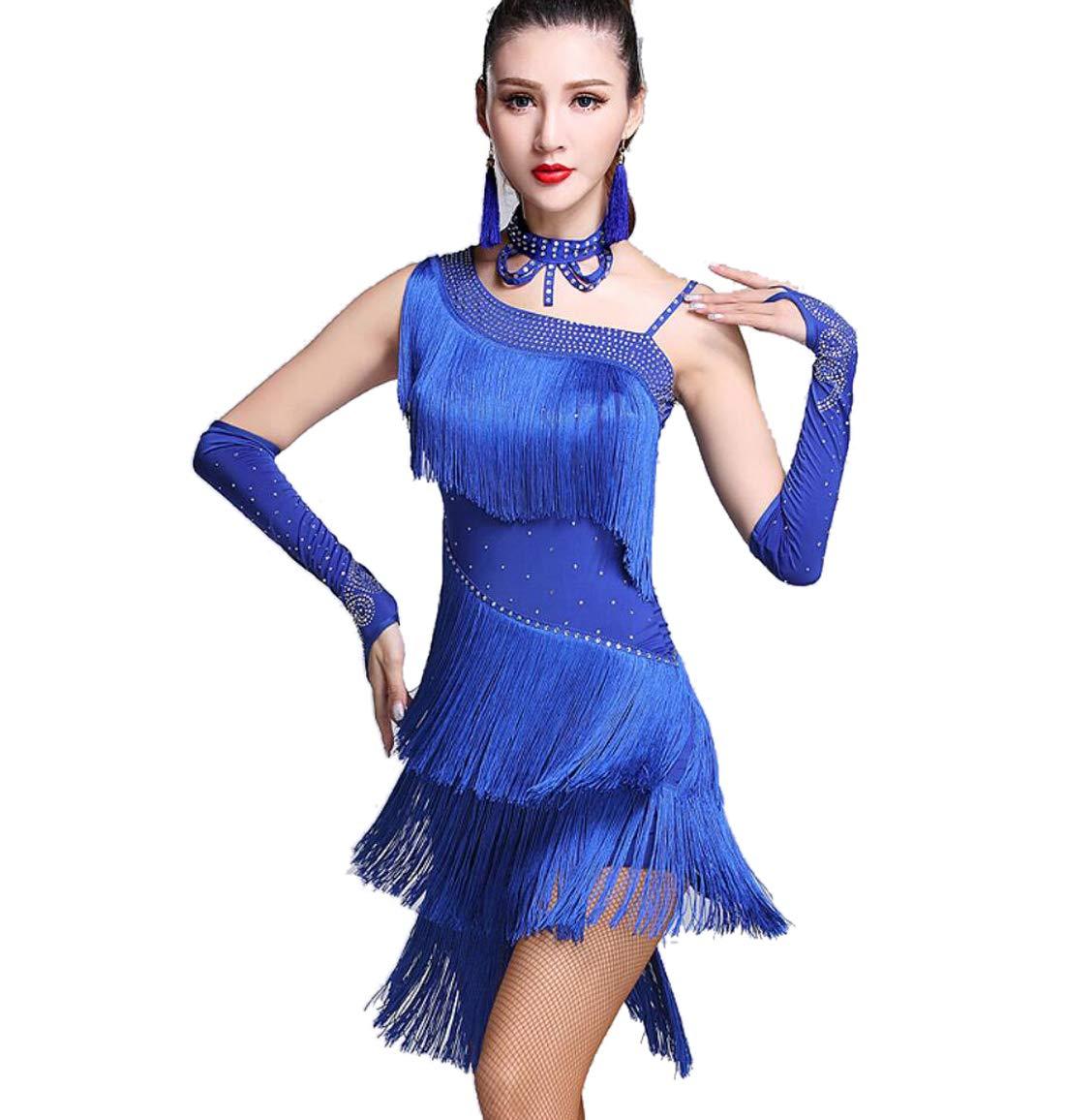 SMACO Adult Latin Dance Kostüm Ballsaal Latin Dance Kleider ärmellose Strasssteine Perlen Latin Ballsaal Kleider B07PY863YW Bekleidung Komfortabel und natürlich
