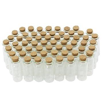 COM-FOUR® 60x Mini botellas de vidrio con cierre de corcho, para aceites