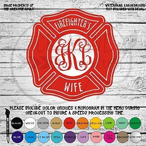 Firefighters Wife Monogram Vinyl Die Cut Decal Sticker for Car Laptop etc MGM123