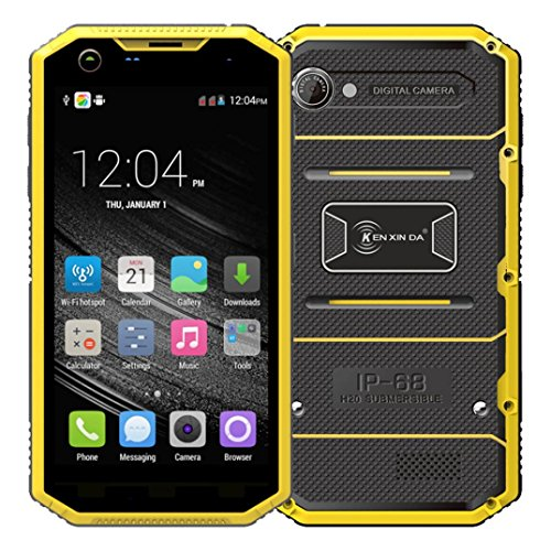 "Elevin(TM) Kenxinda W7 Unlocked GSM 4G LTE Android 5.1 5"" IP68 Waterpoof CellPhone Outdoor Smartphone (Yellow)"