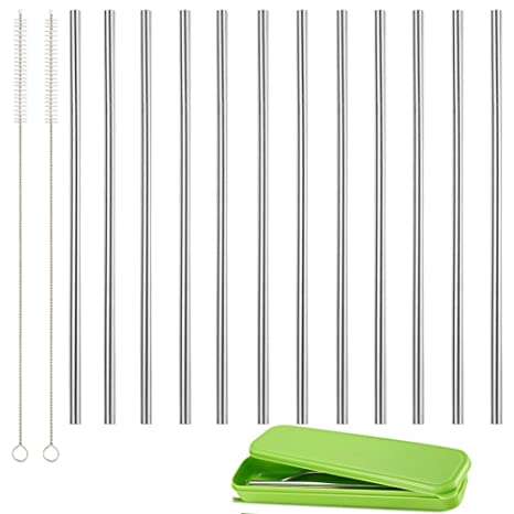 Set of 12 Stainless Steel Straws, Reusable Metal Drinking Straws, Straight  Straws + 2 Cleaning Brushes & Storage Box for 20 OZ Yeti RTIC Tumbler