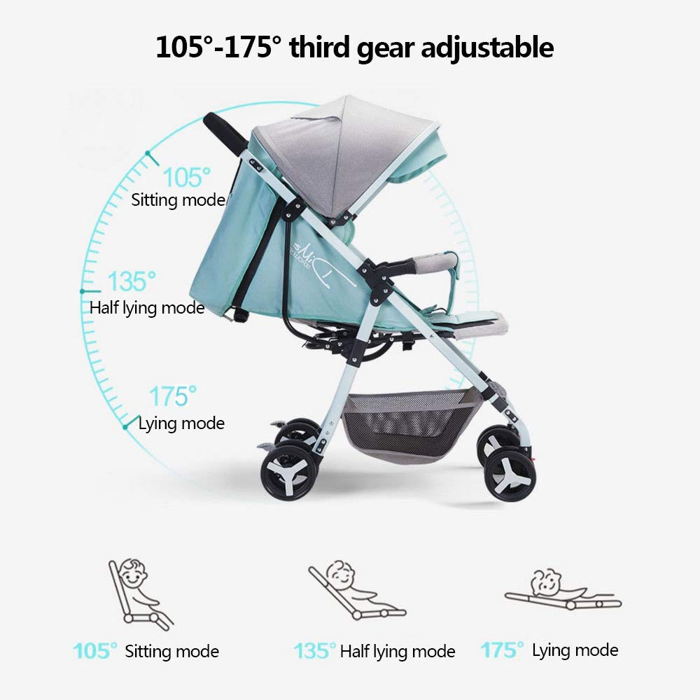 BO LU Double Strollers Double Seats for Twins Foldable Can Sit and Lie with Awning Adjustable Backrest by BO LU (Image #8)