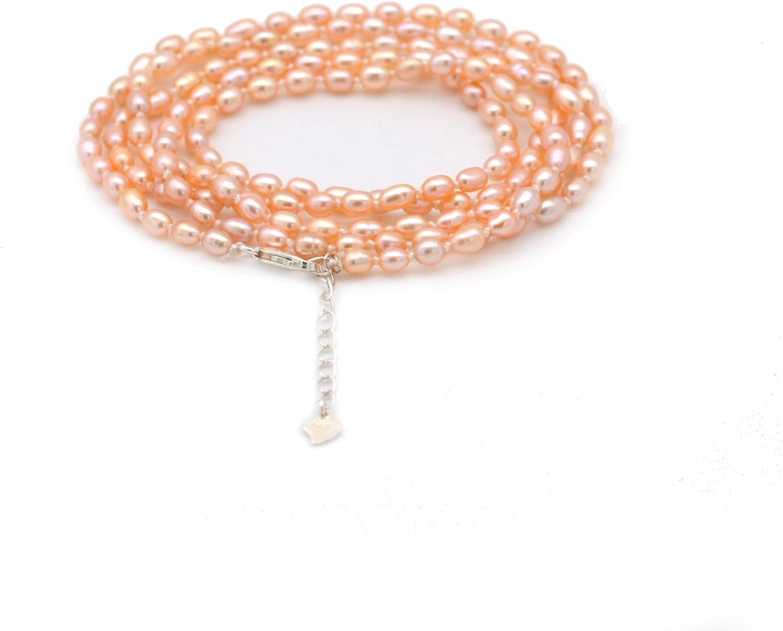 ELAINZ HEART Regalo del día de la Madre, 90cm Collar de Perlas con Cadena Larga y Pulsera de Perlas con 3 Modos de Uso (Collar de 1 hebra, Collar de 2 Hilos, Pulsera de 5 Hilos)