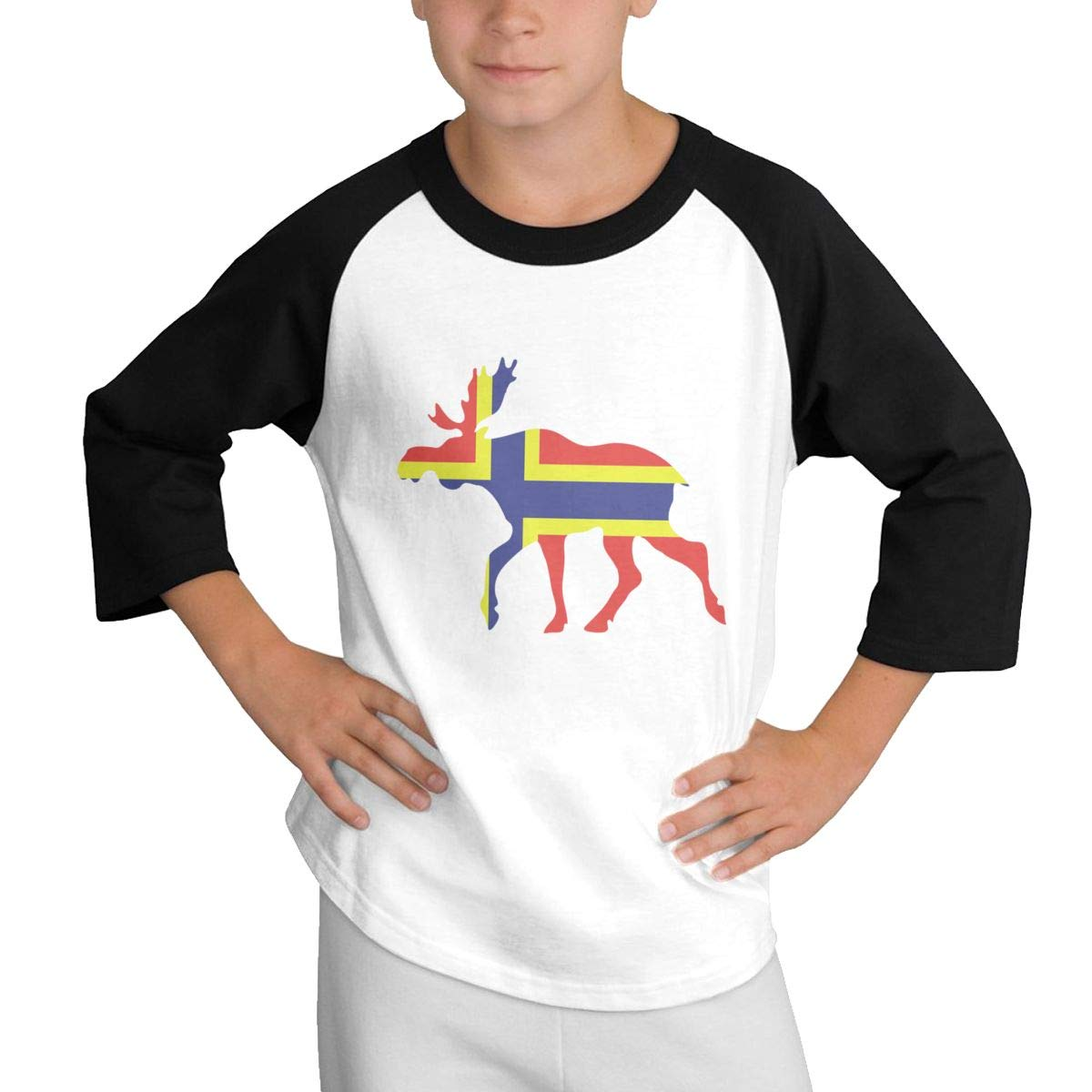 Qiop Nee Norwegian Moose Flag Raglan 3//4 Short Sleeves Tshirt Youth Girl Boys