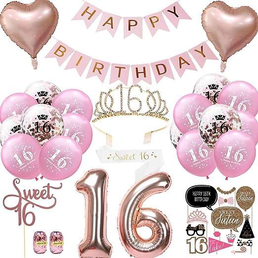 Geburtstagsdeko 16 Jahr Mädchen Deko 16 Geburtstag Luftballon Blau Konfetti Zum 16 Geburtstag Party Kindergeburtstag Happy Birthday Dekoration Erster 16 Spielzeug