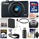 Canon EOS M100 Wi-Fi Digital ILC Camera & EF-M 15-45mm is STM Lens (Black) 32GB Card + Case + Battery + Tripod + Kit