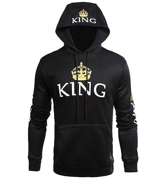 Tomwell Hombre Y Mujer Moda King Queen Impresión Sudaderas con Capucha Manga Larga Pullover Camisas Jersey Hoodies Parejas Tops: Amazon.es: Ropa y ...