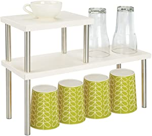 mDesign Modern Metal 3-Tier Kitchen Countertop and Pantry Cabinet Storage Shelf Organizer Stand for Storing Mugs, Bowls, Spices, Baking Supplies - Free Standing, 2 Shelves - Cream Beige/Brushed