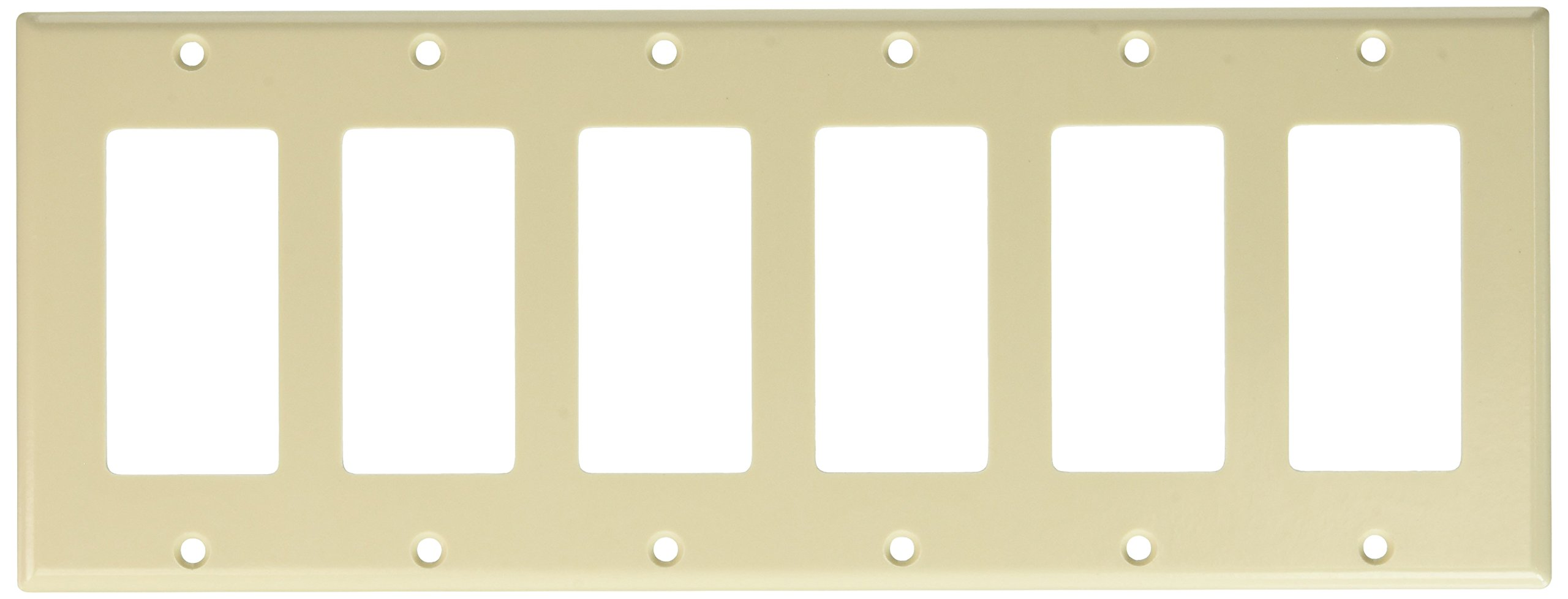 Leviton 80436-T 6-Gang Decora/GFCI Device Decora Wallplate, Standard Size, Thermoset, Device Mount, Light Almond, 10-Pack