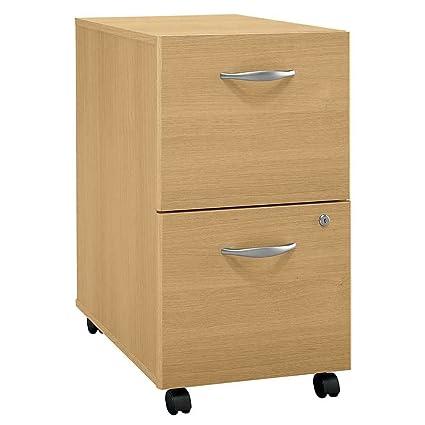 Delightful Bush Business Furniture Light Oak Rolling File Cabinet   Series C
