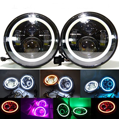 TRUCKMALL 45W 7″ Round LED Projector Headlights with White/Red Halo Ring Angle Eye DRL& Turn Signal Lights For Harley Davidsion Motorcycle, 1997-2015 Jeep Wrangler JK LJ TJ
