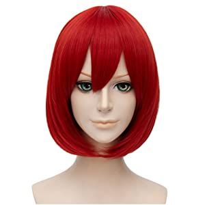 Flovex Short Straight Anime Bob Cosplay Wigs Natural Sexy Costume Party Daily Hair with Bangs (Red)