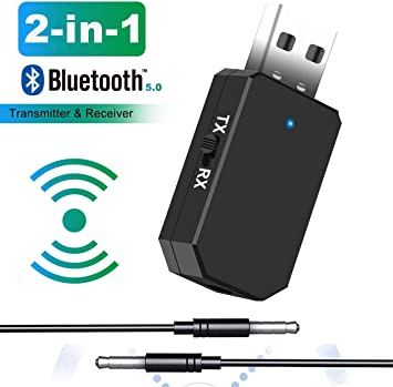 Tokenhigh Adaptador Bluetooth 5.0, 2-en-1 Receptor Bluetooth y Transmisor Bluetooth, con Audio Inalámbrico 3.5MM Cable, para TV y PC, Audio del Automóvil: Amazon.es: Electrónica