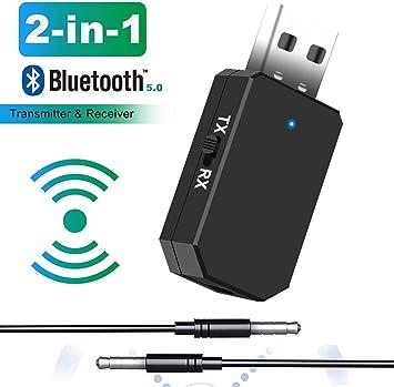 Tokenhigh Adaptador Bluetooth 5.0, 2-en-1 Receptor Bluetooth y Transmisor Bluetooth, con Audio Inalámbrico 3.5MM Cable, para TV y PC, Audio del Automóvil: Amazon.es: Electrónica