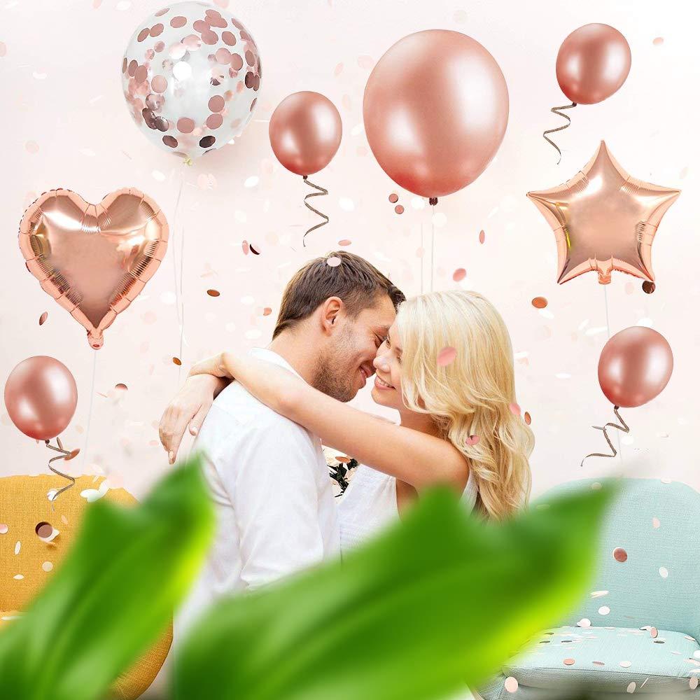 feliz cumplea/ños Decoraci/ón guirnalda Banner de cumplea/ños para fiesta con globos y globos de confeti y globos de aluminio de coraz/ón para ni/ñas y mujeres Decoraci/ón de cumplea/ños 18 en oro rosa