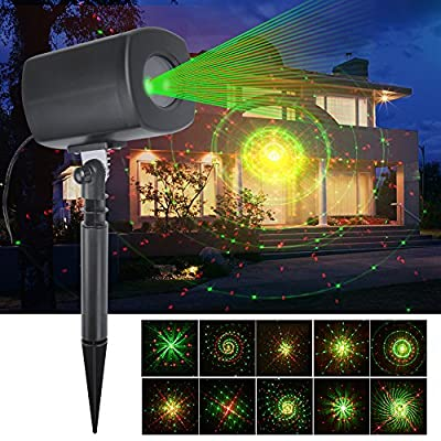 ANTSIR Christmas decoration Red & Green Galaxy Dynamic Lighting Projector Light,Waterproof Star Projector Show for Home,Garden,Party and Landscape