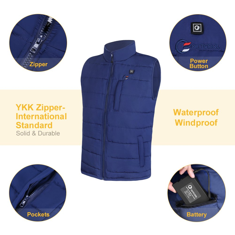 OUTCOOL Men's Heated Vest Light Weight Insulated Heated Down Vest Heating Winter Vest (L) by OUTCOOL (Image #3)