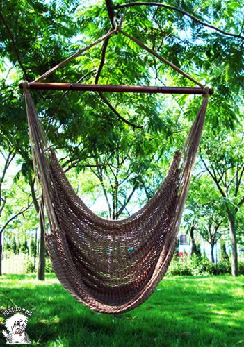 PHAT TOMMY Super Soft Hand Woven Polyester Rope Hammock Chair Swing - Mocha Brown
