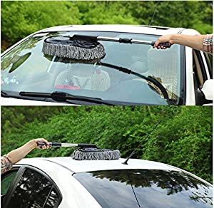 Telescopic Car and Home Cleaning Duster By Janazala Including Microfiber Towel - For Exterior or Interior Use - Telescopic Extendable Handle. Car Cleaning Kit For Dust.