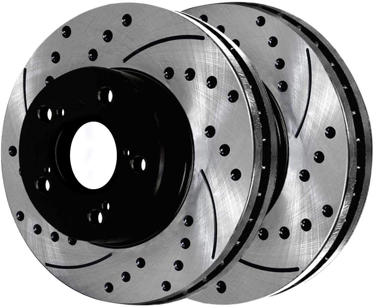 AutoShack BRAKEPKG986 Front and Rear Drilled and Slotted Brake Rotors and Semi Metallic Pads