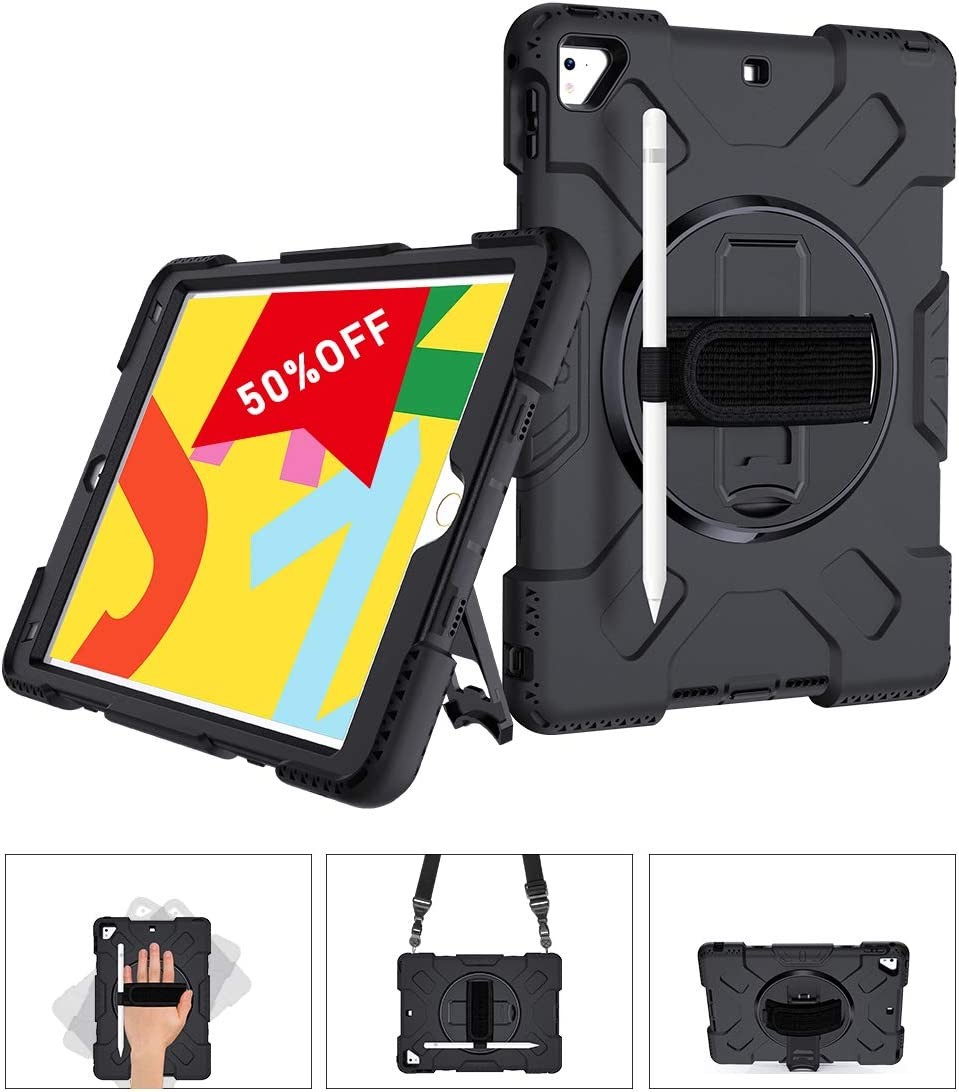 SUPFIVES STOCK iPad 9.7 Case, Heavy Duty Protective 360 Rotatable Stand Adjustable Shoulder Strap Shockproof Case with Pencil Holder & Hand Strap for iPad 6th/5th Generation air 2 pro 9.7 (Black)