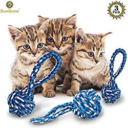 3 Rope Chew Balls for Cats --- Enticing play balls that Relieve Boredom - Dental Treats For Improved Oral Health - 100% Natural, Cotton, soft , machine-washable toys