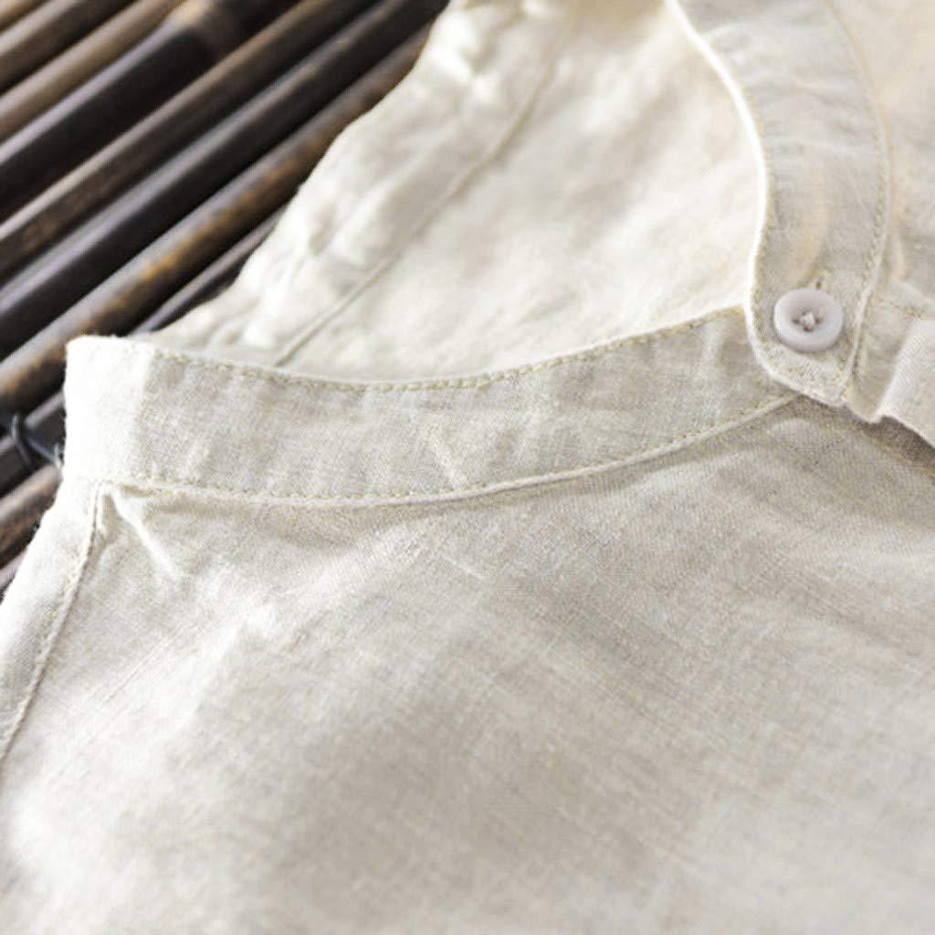 Mens Shirts Summer Cotton Linen Short Sleeve Shirts Casual O-Neck Button-Down Slim T-Shirts Tops