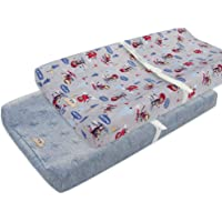 Ultra Soft and Contoured Plush Changing Pad Cover for Baby 2-Pack by BlueSnail (Gray Monkey+Gray)