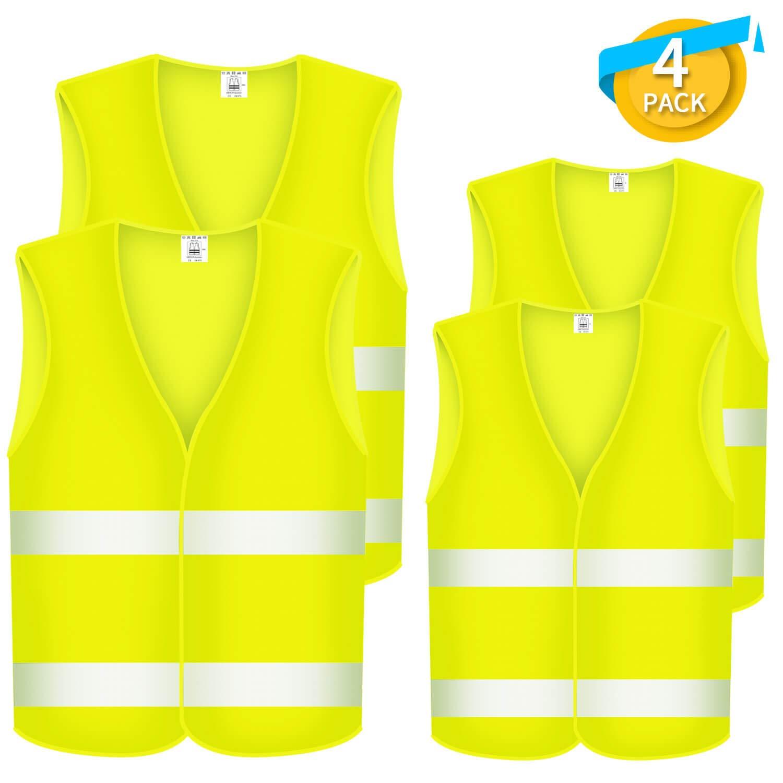 Fesoar Warnwesten Auto, Sicherheitsweste, Pannenhilfe, Waschbar, Neongelb, 4 Stü ck, 125cm