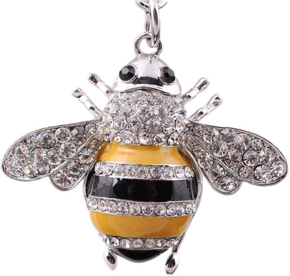 6CM WopenJucy Creative Crystal Rhinestone Bee Honey Keychains Keyring Women Car Bag Charms Trinket Key Ring Holder Pendant Christmas Jewellery size 11.5 Silver