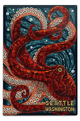Seattle, Washington - Octopus Mosaic 12x18 Aluminum Sign
