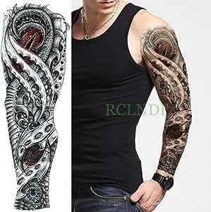 Tatuaje resistente al agua Aplique mecánico fresco Brazo completo Tatuaje alienígena de gran tamaño: Amazon.es: Belleza