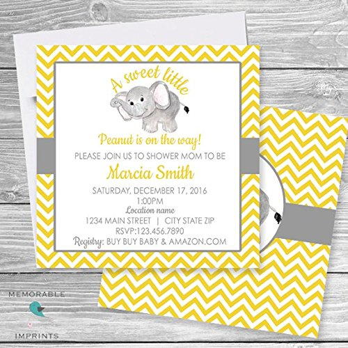 Amazoncom Set of 10 Elephant Baby Shower Invitation Gray Yellow