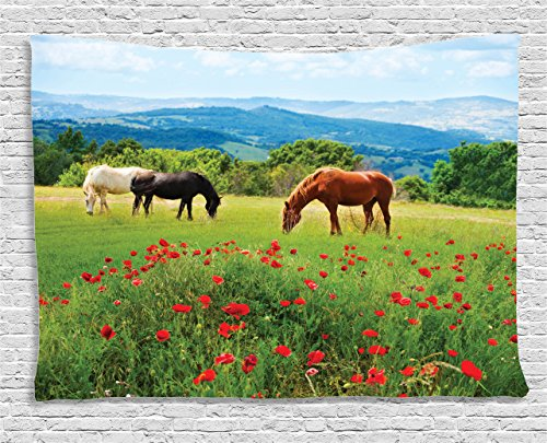 Ambesonne Animal Decor Collection, Various Kinds of Horses Eating Grass in the Field with Mountain Landscape Rural Scene Print, Bedroom Living Room Dorm Wall Hanging Tapestry, 60 X 40 Inches, (Scene Room Ideas)