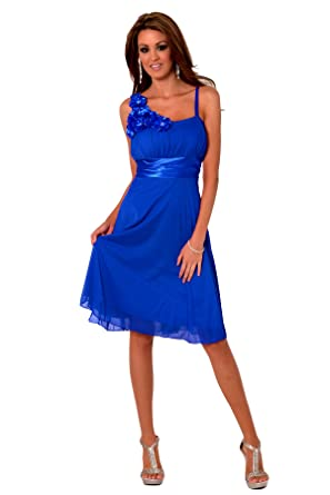 H1350 Cobalt Blue Sleeveless Floral Designer Empire Waist Sheer Overlay Knee Length Cocktail Evening Party Bridesmaid